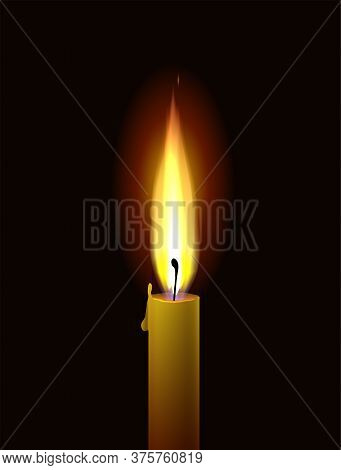 Candle Flame. Realistic Burning Paraffin Candle On A Black Background