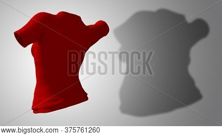 Conceptual fat overweight obese shadow female blouse outfit vs slim fit healthy body after weight loss or diet thin young woman on gray. A fitness, nutrition or obesity health shape 3D illustration