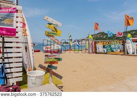 Port De La Selva, Spain : 9 July 2020 : View Of Windsurf Shop In Port De La Selva, One Of The Most T