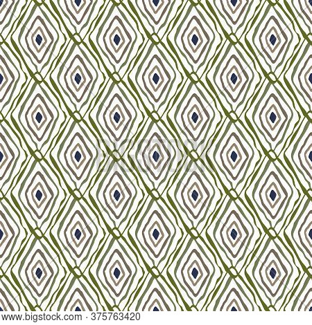 Vector Oblong Diamond Outlines In Blue Green Brown On White Background Seamless Repeat Pattern. Back