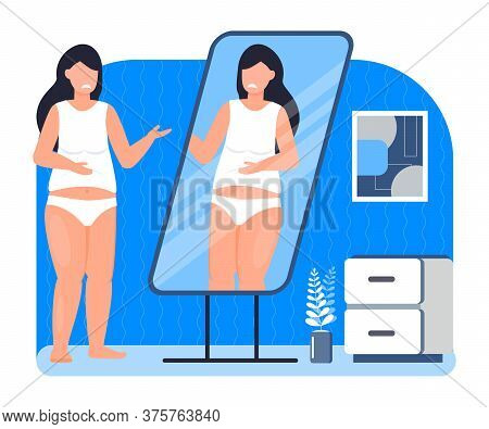 Upset And Fat Girl Is Looking In Mirror. Obesity Concept Vector. Depression, Mental, Disorder Proble