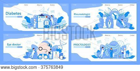 Diabetes Concept Illustration For Endocrinologist. Proctologist, Rheumatologist Vector For Clinic. O