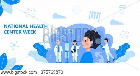 National Health Center Week In August. Healthcare, Clinic Center Concept Vector. Tiny Doctors Treat,
