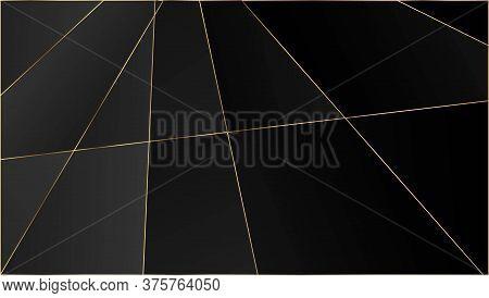 Black Luxury Polygon Texture. Gold Lines Triangular Premium Frame. Silver Rich Vip Geometric Celebra