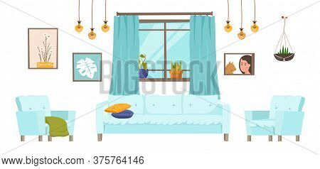 Drawing-room Furniture Collection. Modern Household Set With Decoration Details. Editable Vector Ill