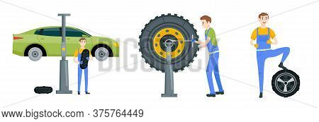Mechanic In A Garage Set. Wheels And Tyre Fitting Service. Transportation, Tire Repair, Computerized