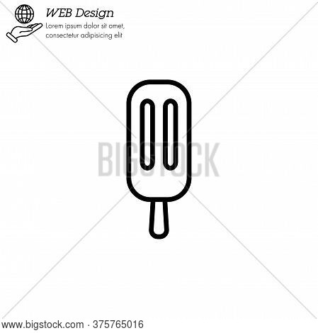 Ice Lolly, Ice Cream Icon Thin Line, Linear, Outline. Simple Sign, Logo