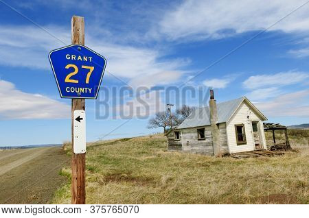 Ghost Town By The Rural County Road 27 In Central Oregon, Usa