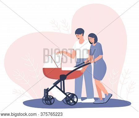 Happy Couple Looking In A Stroller With A Newborn. Mom And Dad Are Walking With A Mouse In A Strolle