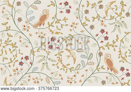 Vintage Birds In Foliage With Flowers Seamless Pattern On Light Background. Owl Swallow Martlet Swif