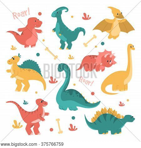 Cute And Funny Dinosaurs Set Vector Isolated. Collection