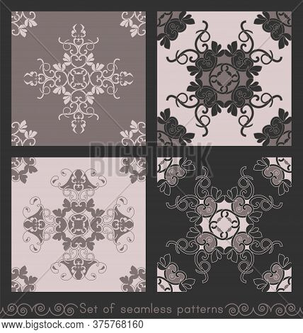 Set Of Seamless Patterns With Hearts, Interlaced Spirals And Birds. Romantic. Colors Pinkish Brown D