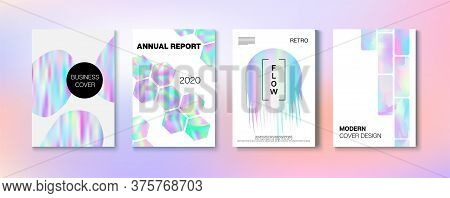 Holographic Gradient Vector Background. Liquid Holo Bright Trendy Layout. Hologram Business Soft Cov