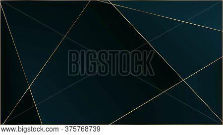 Blue Luxury Polygon Texture. Rich Vip Silver Geometric Celebration Background. Gold Lines Triangular