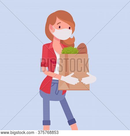 Woman Shopping, Wearing Mask, Gloves For Personal Health Care. Female Consumer Carrying Supermarket