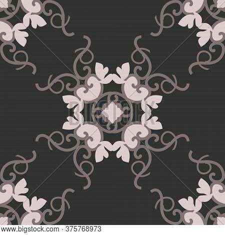 Seamless Pattern With Hearts, Interlaced Spirals And Birds. Romantic. Colors Dark Grey, Pinkish Brow