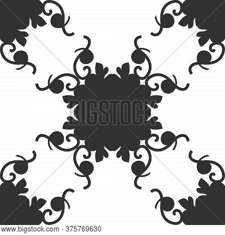 Seamless Pattern. Spirals. Colors Dark Grey And White. Vector.