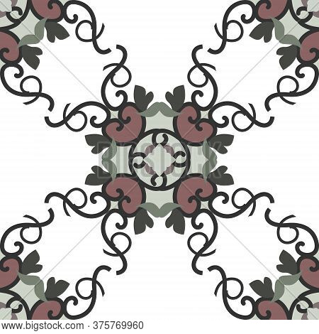 Seamless Pattern With Hearts, Interlaced Spirals And Birds. Colors White, Green, Dark Red And Dark G