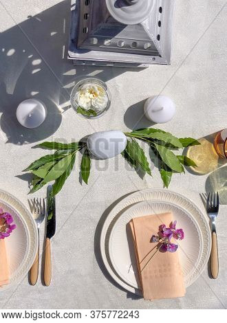 Festive Table Setting Top View. Wedding Table Setting. Vertical. Restaurant, Table Decor, Utensil, F