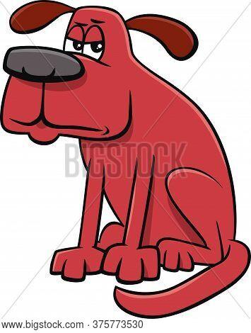 Cartoon Illustration Of Unhappy Or Grumpy Dog Comic Animal Character