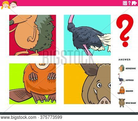 Cartoon Illustration Of Educational Game Of Guessing Wild Animals Worksheet Or Application For Child