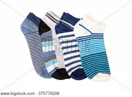 Pairs Of Socks Striped Isolated On White Background