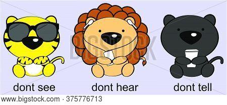 Three Wise Baby Animals Cartoon Illustration In Vector Format