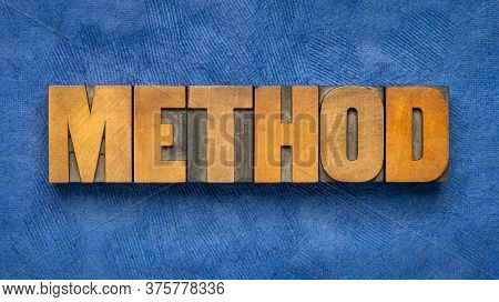 method word abstract in vintage letterpress wood type, business, education or science concept