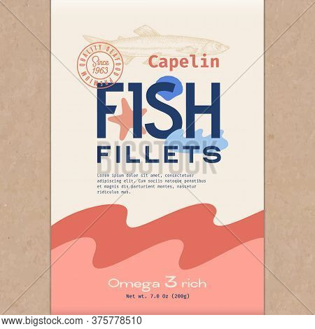 Fish Fillets. Abstract Vector Fish Packaging Design Or Label. Modern Typography, Hand Drawn Capelin