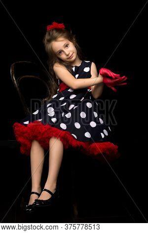Charming Coquettish Girl Posing In Retro Fashion Clothes In Studio, Portrait Of Beautiful Girl Weari
