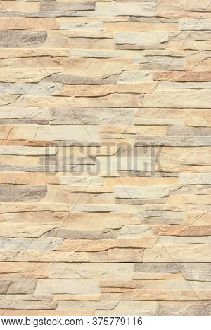 Abstract Beige Brown Slate Pattern Stone Block Wall Texture. High Resolution Photo. Full Depth Of Fi
