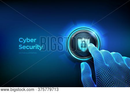 Cyber Security. Protect And Safe Concept. Cyber Data Protection And Information Privacy. Closeup Fin