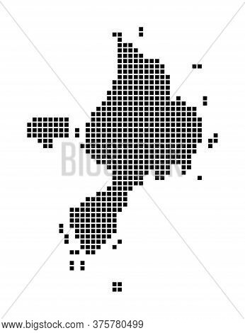 Sark Map. Map Of Sark In Dotted Style. Borders Of The Island Filled With Rectangles For Your Design.
