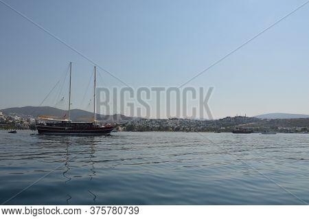 Gumbet, Turkish - July 02, 2020: Beach And Beach Panorama In Bodrum