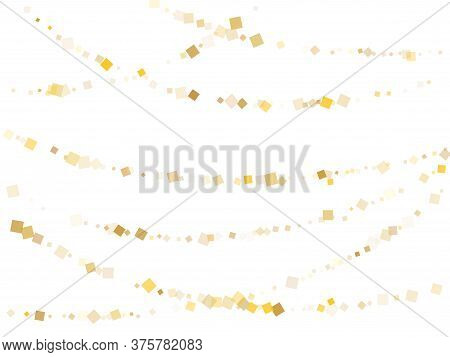 Simple Gold Square Confetti Sparkles Flying On White. Shiny Holiday Vector Sequins Background. Gold
