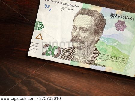 Paper 20 Or Twenty Hryvnia Notes With Famous Ukrainian Historical Figure Ivan Franco On It. New Ukra
