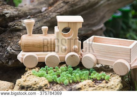 Children's Wooden Toys. Children Wooden Train With Wagons. Natural Wood Construction Set. Educationa