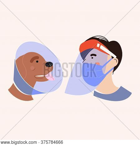 Protective Screen For The Face Of The Human Figure. Plastic Mask To Protect The Face. Dog With A Pro