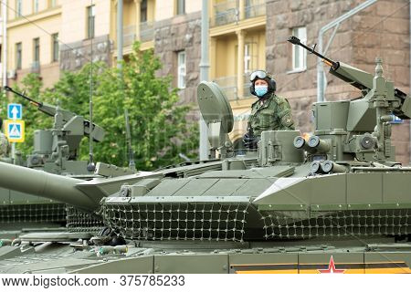 Moscow, Russia - May 1, 2020: Victory Day Parade Repetition Before 9 May. Military Machinery Drive D