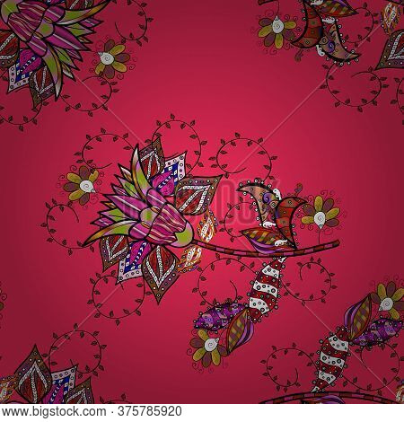 Vector Tender Fabric Pattern. Floral Black, Brown And Pink Seamless Pattern. Vector Flower Print. Vi