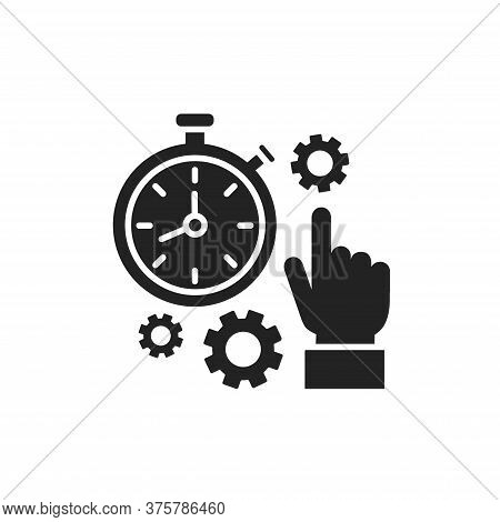 Punctuality Black Glyph Icon. Time Management. Timer And Deadline Concept. Sign For Web Page, Mobile