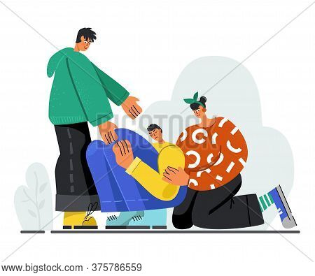 Young People Console A Sad Guy, Helping Hand. The Concept Of Empathy. Vector Stock Illustration. Fla