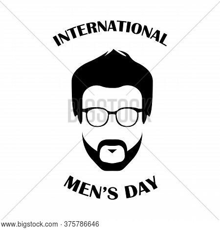 International Men's Day With Face Man With Glasses And Beard. World Beard Day