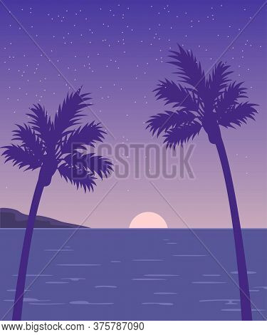 Sunset On The Beach With Palm Trees Silhouettes. Vector Illustration.