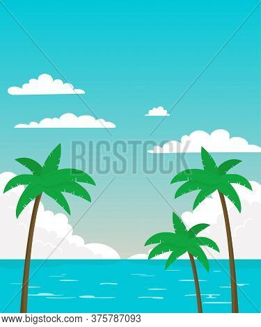 Sea Panorama With Palm Trees. Tropical Beach, Summer Background. Vector Illustration.