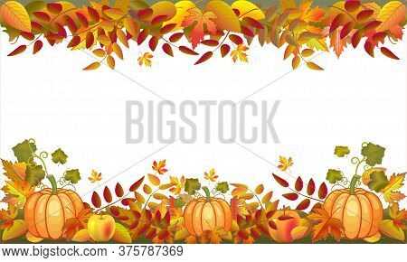 Autumn Frame With Pumpkin, Colorful Leaves For Design Greeting Card, Poster, Invitation, Thanksgivin