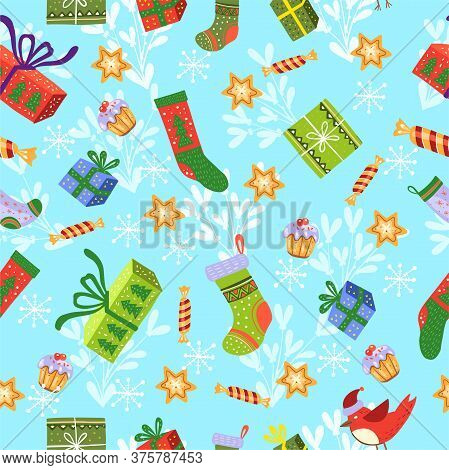 Christmas Seamless Pattern With Socks, Stars, Gift Boxes, Candies, Cake, Bullfinch On Blue Backgroun
