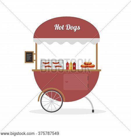 Cartoon Hot Dog Cart, Street Food. Vector Illustration.