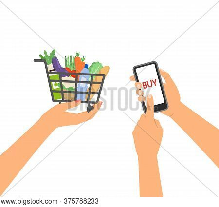 Grocery Delivery Service Concept, Hand With Supermarket Shopping Cart. Vector Illustration.
