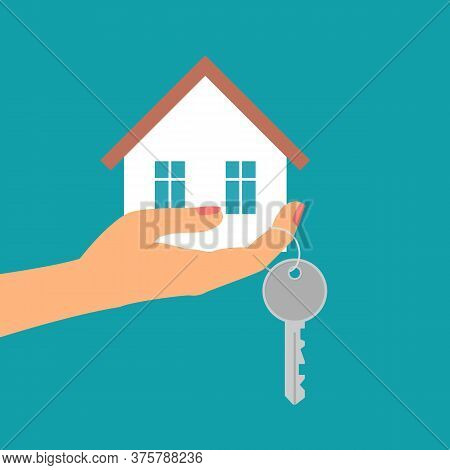 Hand Holding House In Palm And Key On Finger. Vector Illustration.